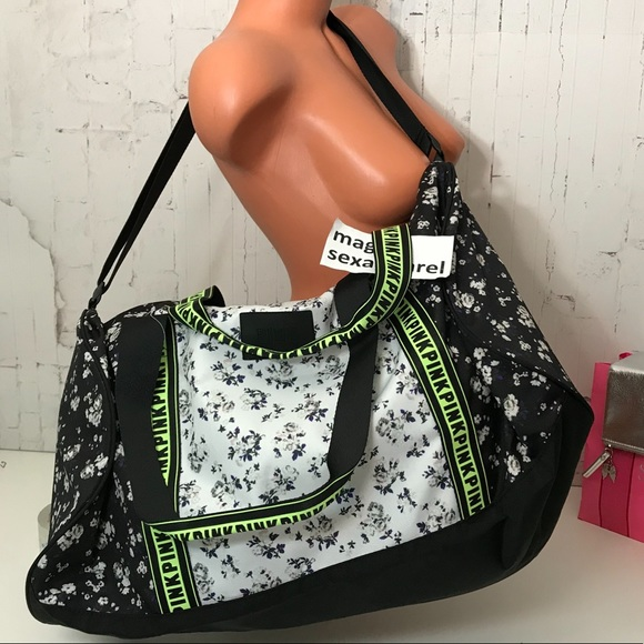 VS PINK LOGO DUFFLE BAG CAMPUS TRAVEL BAG FLORAL